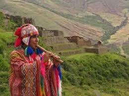 An  Inca playing an instrument