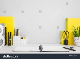 stylish home office furniture. Stylish Home Office Desk With Copy Space, Books, Supplies. Yellow, Grey Furniture