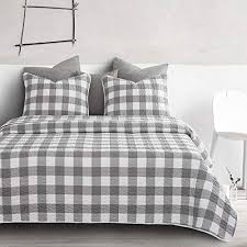 wake in cloud gray plaid duvet cover