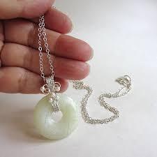 white jade necklace white green new jade gemstone donut pendant 2 necklace with