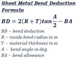 Bend Allowance Chart For Sheet Metal Sheet Metal Bend Deduction Calculator