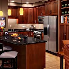 Awesome Cherry Kitchen Cabinets With Gray Wall And Quartz Countertops Ideas