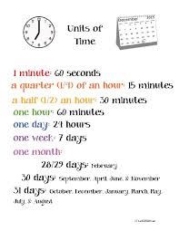 Unit Of Time Anchor Chart Poster Classroom Freebies