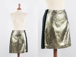 90s Gold Skirt Philosophy Alberta Ferretti Vintage Mini Skirt Brocade Motif Black Sides Size M Made In Italy Medium Paisley Lurex