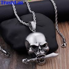 whole personality hiphop rocker skull pendant necklace for men jewelry stainless steel best friends ghost necklaces pendants 2019 locket necklace mens