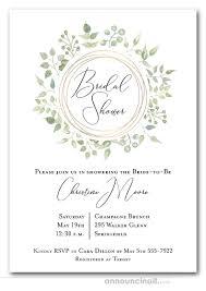 Couple Wedding Shower Invitations Pale Greenery Wreath Bridal Shower Invitations