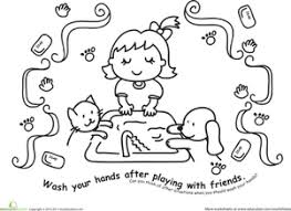 Teaching children to wash their hands (#297). Wash Those Hands Color The Hand Washing Scene Worksheet Education Com
