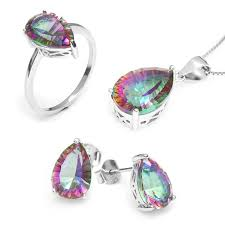 whole hot women s pear 4 5ct genuine gem stone rainbow mystic topaz pendant ring earring set solid pure 925 sterling silver
