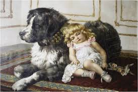 charles burton barber girl with newfoundland dog
