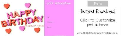 free happy birthday template free birthday gift certificate template