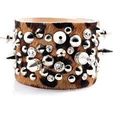 pony skin leopard print leather swarovski spike bracelet cuff