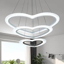 anti glare multi ring pendant light cream glass loving heart led chandelier 12 36 120w 1 2 3 tier led suspension fixture height adjule for kids girls