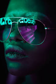 Neon Light Glasses Pop Portraits With Neon Light Reflected In Sunglasses Neon