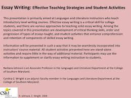 essay writing effective teaching strategies and student activities b   student activities 2