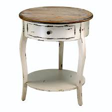 french country distressed white wood round accent side table  ebay