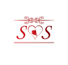 ss love initial with red heart and rose