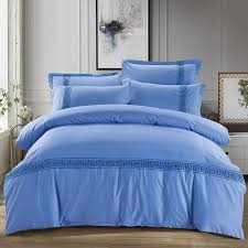egyptian cotton embroidered red yellow grey blue pure color bedding sets bed sheet queen king size cotton duvet cover king bedding from yuntengfu44190