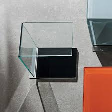 Swan Curved Glass Table Coloured Base Klarity Glass Furniture With Regard  To Coloured Glass Shelves (