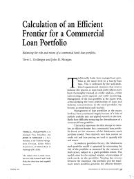 Commercial Loans Calculator Calculation Of An Efficient Frontier For A Commercial Loan Portfolio