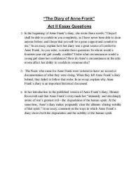 the diary of anne frank act ii essay questions ldquothe diary of anne frankrdquo act ii essay questions 1 in the beginning