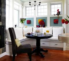 White Breakfast Nook Table Breakfast Nook Black Chairs Bench Cushions And White