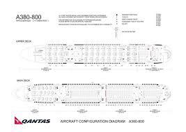 Qantas Airlines Airbus A380 800 Aircraft Seating Chart