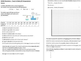 aqa 9 1 gcse science chemistry rate of reaction temperature worksheet