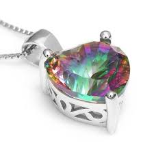 <b>4ct Genuine Rainbow Fire</b> Mystic Topaz Solid 925 Sterling Silver ...