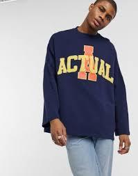 ASOS Actual <b>extreme</b> oversized <b>sweatshirt</b> with boucle branding logo