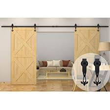 winsoon 8ft 96 inch industrial barn door hardware kit inside sliding iron track for double