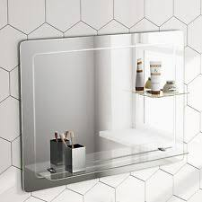 white bathroom mirror with shelf. 800x600mm rectangular bathroom mirror horizontal with glass storage shelf mc151 white