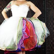 multi layered rainbow petticoat dress