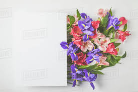 top view of blank card and beautiful flower bouquet on grey