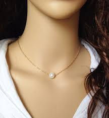 chain necklace pearl choker single pendant at