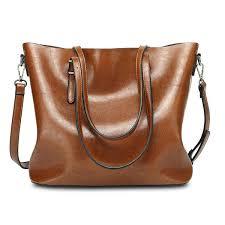 women oil leather tote handbag vintage shoulder bag capacity big ping tote cross bag cod