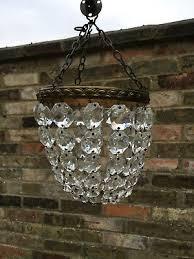pretty little french antique lead crystal basket chandelier