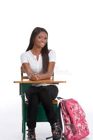 african american college student by school desk stock image image of female ethnicity