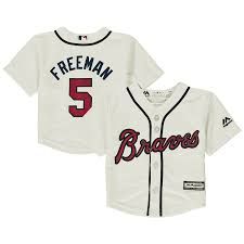 infant atlanta braves fred freeman majestic cream alternate official cool base player jersey