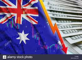 Australia Flag And Chart Falling Us Dollar Position With A