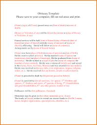 printable obituary templates anuvrat info 5 printable obituary templates itinerary template sample