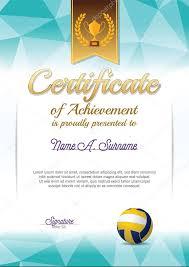 Diploma Voleibol Certificado De Logro Certificado De