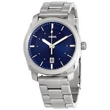 fossil machine blue dial stainless steel men s watch