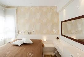 Modern Luxury Bedroom Modern Luxury Bedroom With Wallpaper Hotel Room Stock Photo