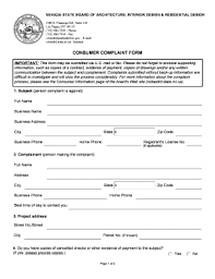 Fillable Online Nsbaidrd State Nv Consumer Complaint Form - Nsbaidrd ...