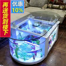 large ecological living room coffee table fish tank aquarium round glass domestic desktop coffee table fish