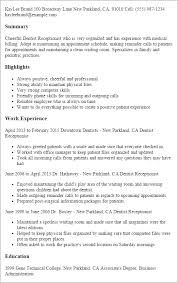 Dental Receptionist Resume Free Resume Templates 2018