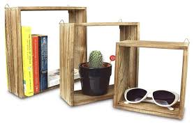 wooden square floating display shelves 3 piece set transitional display and wall shelves by ikee design