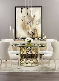 dining room table glass inlay. spin in this radiant dining room. the buffet\u0027s shimmery shell inlay catches light from modern glass pendants. table\u0027s metal lattice base room table b