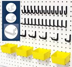 Pegboard storage bins Organizer Peg Hook Kit Wallpeg Store Wallpeg Store 43 Piece Pegboard Kit