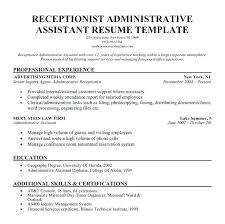 Administrative Receptionist Resume Assistant Website Inspiration